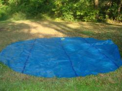 pool solar cover in the grass